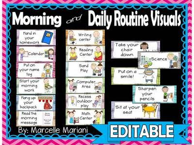 DAILY MORNING ROUTINE VISUAL SCHEDULE and daily routine visuals ...