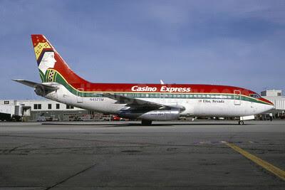 Casino Express Airlines Boeing 737-214 N457TM (msn 20156) (Queen) MIA (Bruce Drum). Image: 102761.