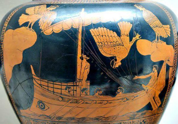 Ánfora griega decorada con la escena de Ulises escuchando cantar a las sirenas