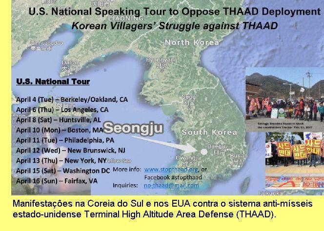Manifestações contra o THAAD nos EUA e na Coreia do Sul.