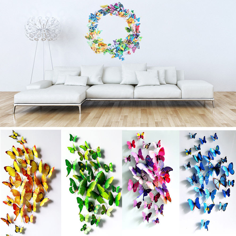 12 24 PCS 3D Butterfly Sticker Art Design Decal Wall Stickers Home