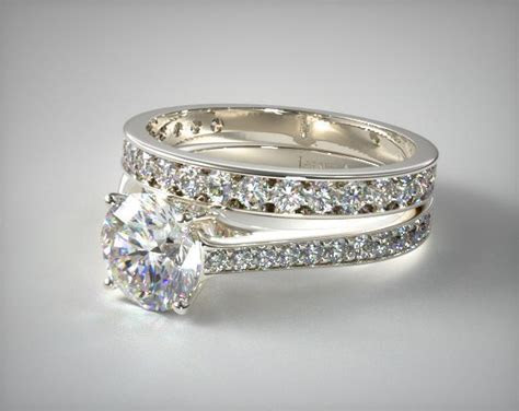 1101414024W   2.2mm Pave Diamond Engagement Ring and .42ct