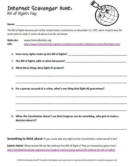 Internet Scavenger Hunt: The Bill of Rights  Education World