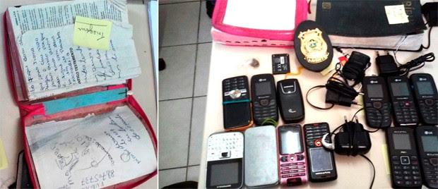 Além das bíblias com drogas dentro, vários aparelhos celulares foram apreendidos durante a revista (Foto: Divulgação/Coape)