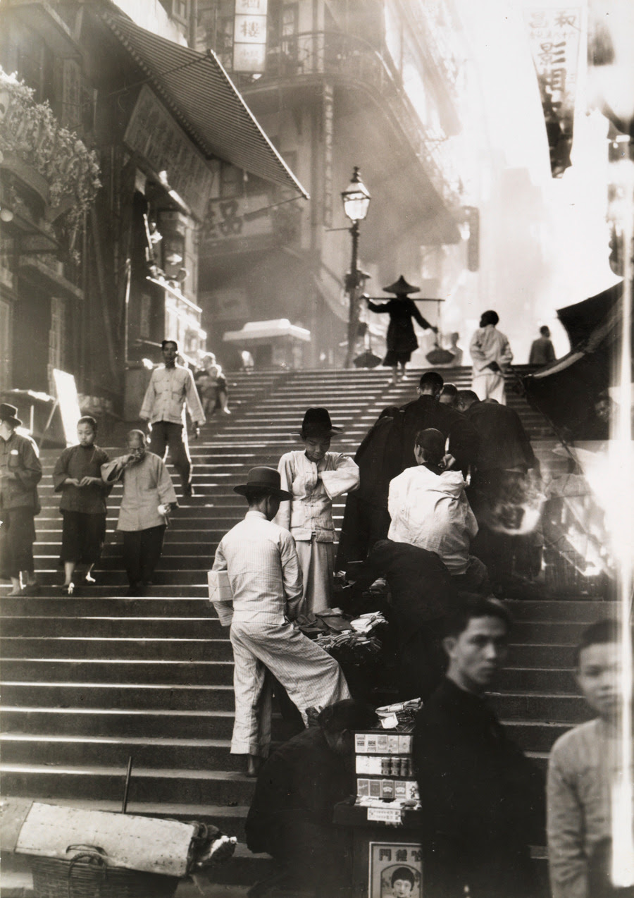Vendors and pedestrians along a steep staircase in Hong Kong, November 1934.Photograph by W. Robert Moore, National Geographic