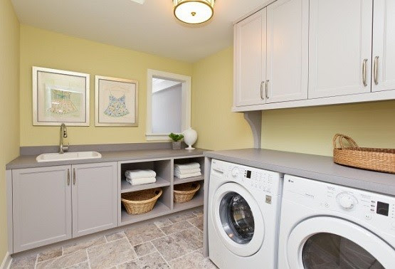 Utility cabinets & laundry room sink with shelves