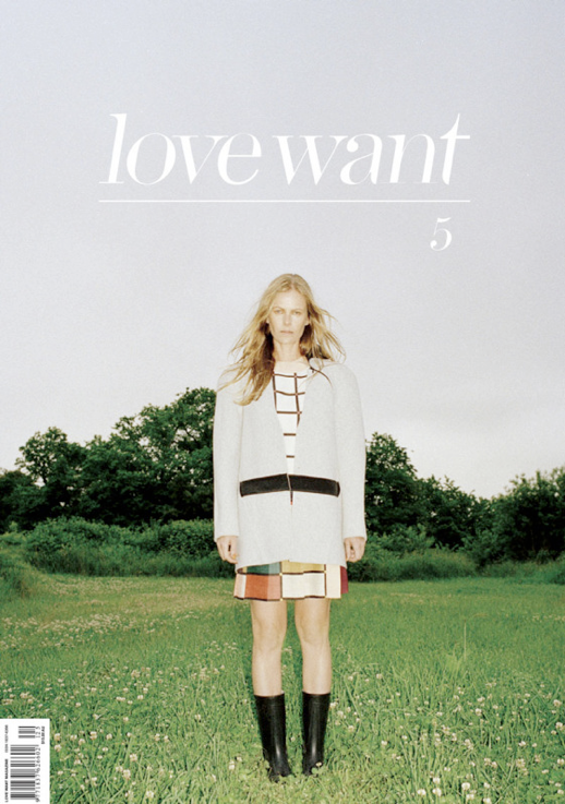 LOVE WANT MAGAZINE EDITORIAL LAID BACK COVER GRAPHIC PRINT TOP COLOR BLOCK SKIRT BOXY JACKET COAT MID CALF RAIN BOOTS