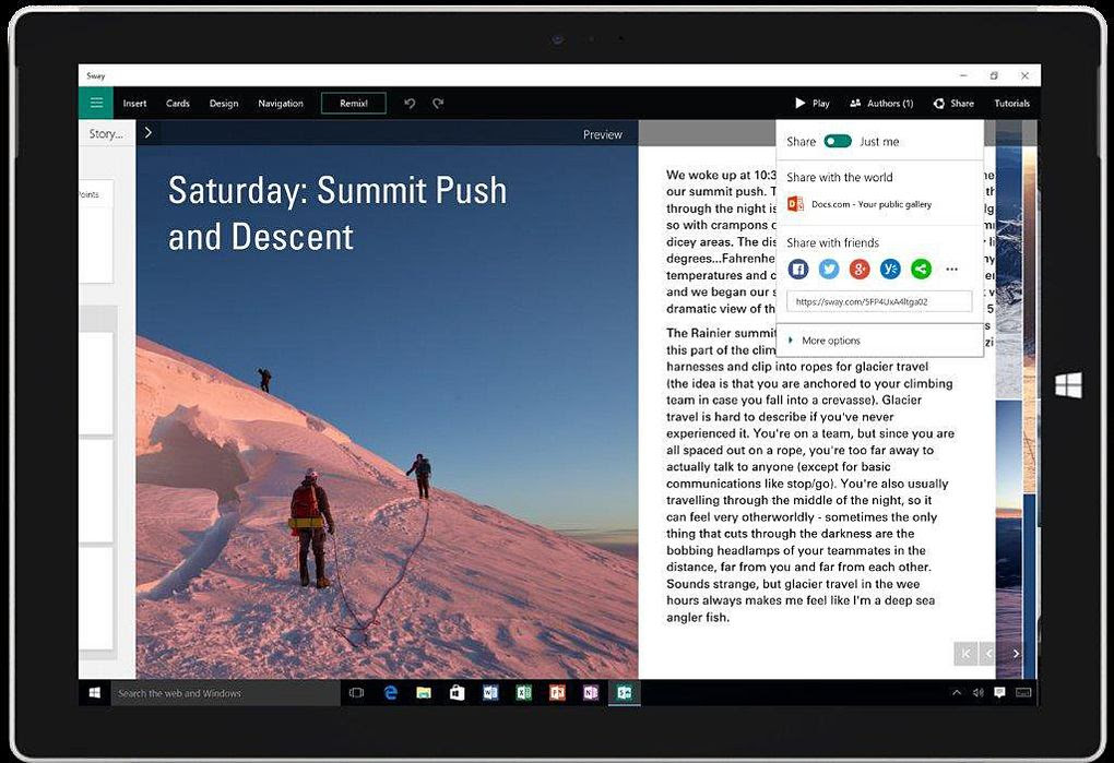 A way for users to create and share files, Sway is the first addition to Microsoft Office's core suite of applications since OneNote in 2003. (Microsoft)