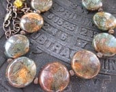 All Over the World-Copper Green Opal, Swarovski Crystals, Czech Beads & Antiqued Brass Necklace