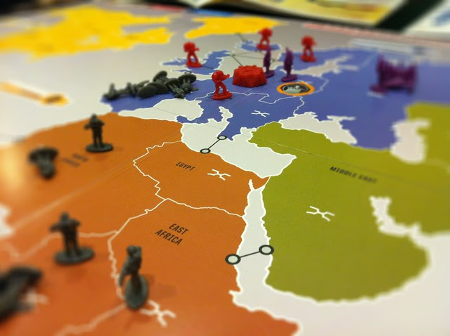 RISK Legacy:  The Russians and Germans are in a heated struggle -