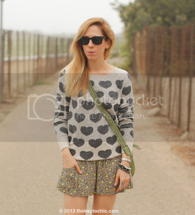 Los Angeles fashion blogger wearing Mossimo heart print sweater, floral challis shorts