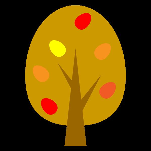 縁無しでかわいい秋の木の無料イラスト商用フリー オイデ43