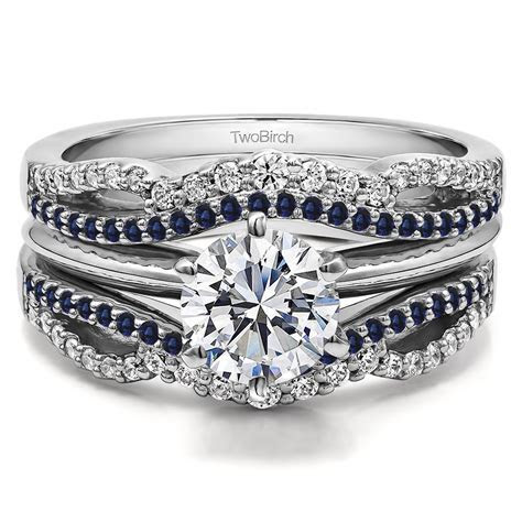 Diamond and Sapphire Double Infinity Wedding Ring Guard