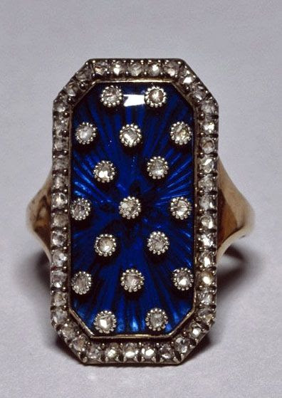 """Diamond & enamel ring of the heavens"" belonging to Marie Antoinette."