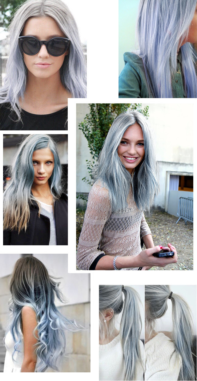 Blue hair trend spring summer 2014 pastel hair ombre silver blue blog post fashion blogger turn it inside out belgium inspiration