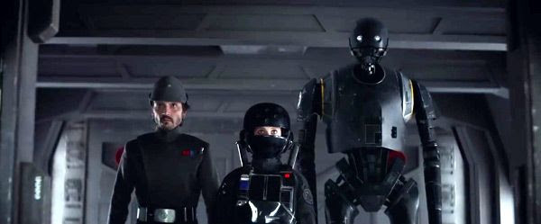 With the droid K-2SO (voiced by Alan Tudyk) at their side, Jyn Erso and Captain Cassian Andor (Diego Luna) dress as Imperial officers as they continue their mission to steal the Death Star plans in ROGUE ONE: A STAR WARS STORY.