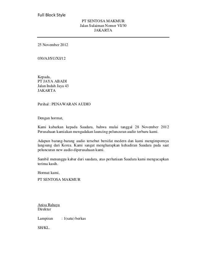 12+ Contoh surat block style bahasa indonesia terbaru terbaru