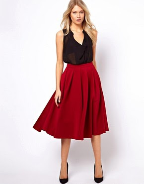 flared skirt,pleated skirt,pleats,red,skirt,midi,ASOS