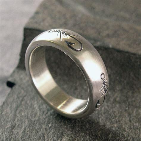 Fly Fishing Ring, Fly Fishing Wedding Band, Fishing Ring