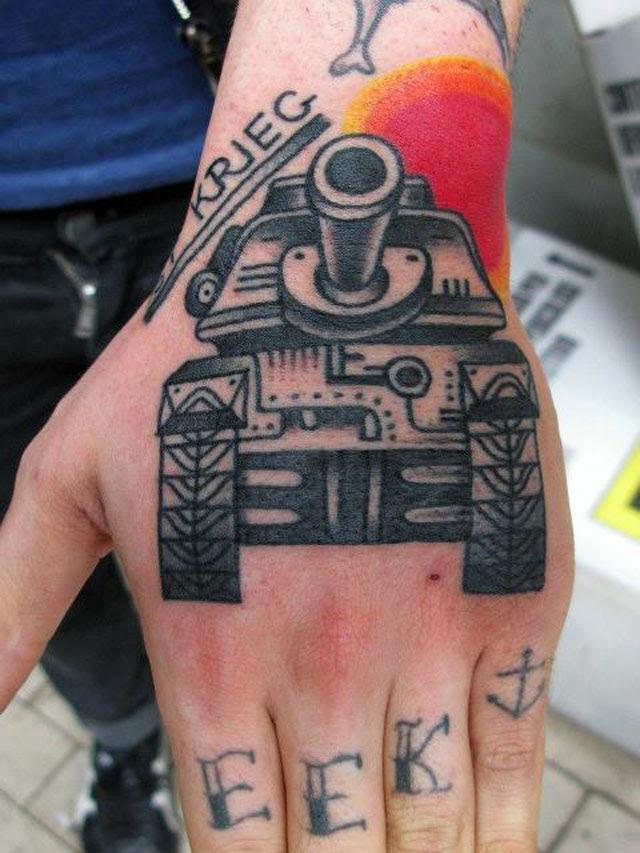 Unique Military Tank Hand Tattoo