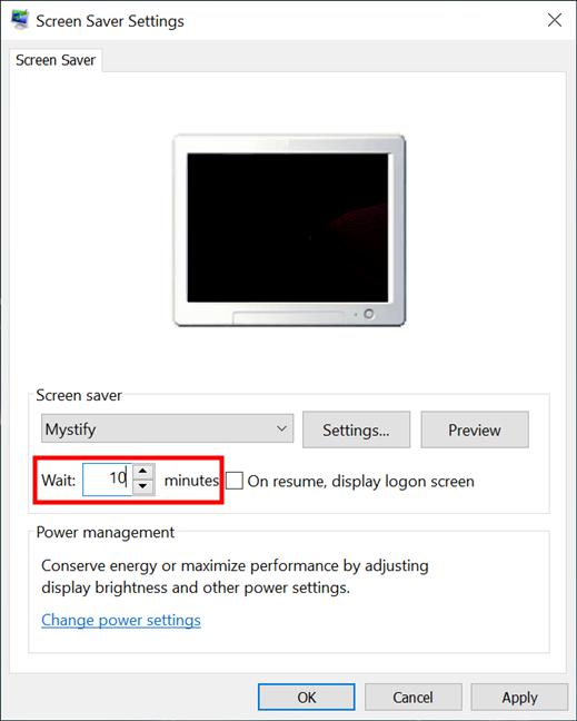Establecer cuánto tiempo hasta que se inicie el protector de pantalla en Windows 10