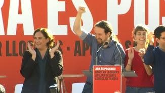 Pablo Iglesias i Ada Colau a l'acte de CatComú-Podem