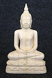 الجميلة العتيقة العاج التايلاندية بوذا يجلس في الموقف التأمل أو داهانا mhyra (4 في. طويل القامة) - 19th ج