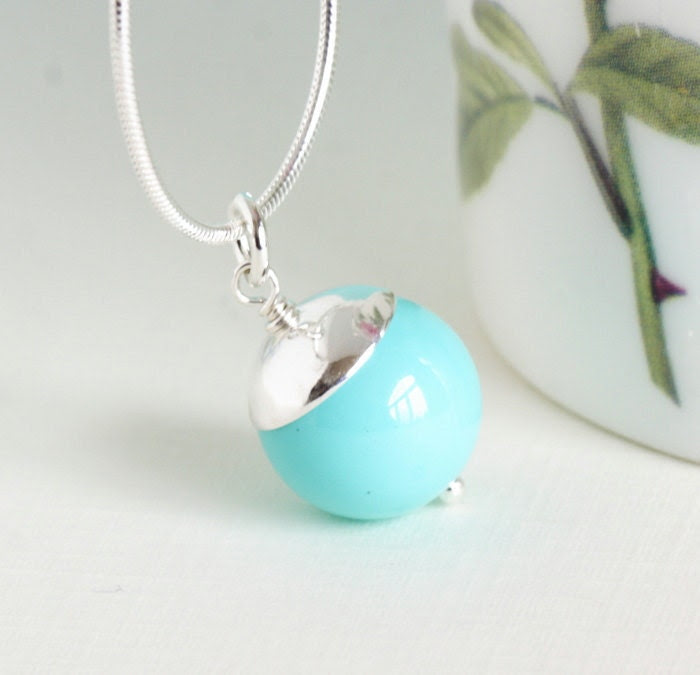 Aqua Necklace, Sterling Silver Necklace - Stunning Simplicity, Dreamy