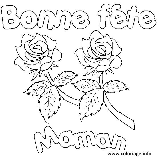 Coloriage Bonne Fete Maman Roses Jecoloriecom