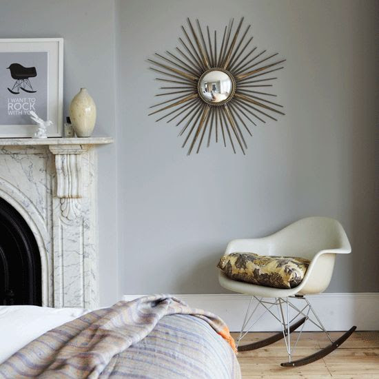 Farrow & Ball's Lamp Room Gray bedroom