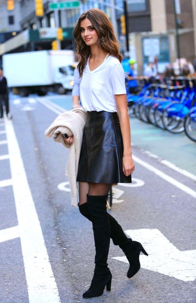 Le Fashion Blog Model Taylor Marie Hill Style White Tee High Waist Leather Skirt Sheer Tights Heeled Suede Lace Back Over The Knee Boots Via Got Celeb