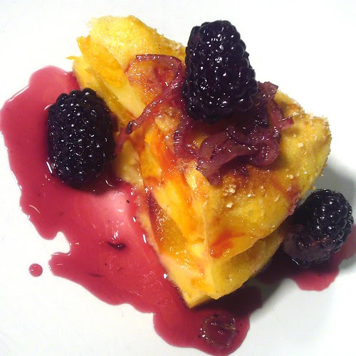 Clafoutis of peaches and apricots with caramelized fennel and blackberry-lavender sauce