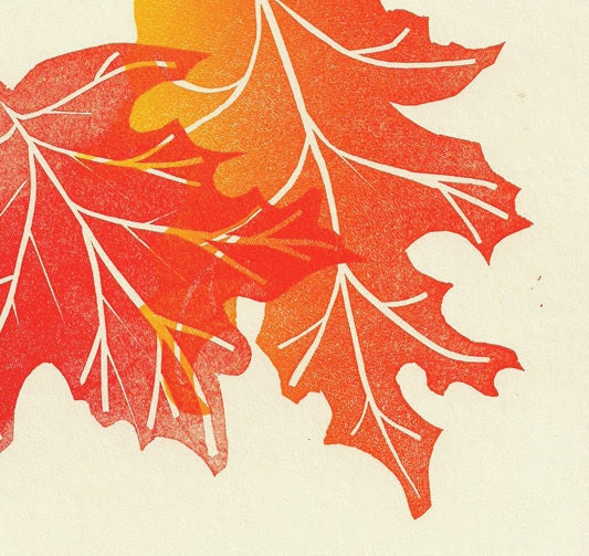 Autumn Linocut Print- Woodland Eco Natural- Maple Leaf- 8x10 inch 20 x 25 cm - Printmistress888