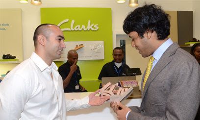 Clarks Africa Brand Manager, Abbas Fatepurwalla (left) and Nakumatt Holdings Business Development Manager Neel Shah at the opening of the first Clarks Concept store/COURTESY