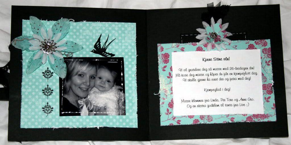 Innsiden av kortet med tag bak hilsen på side 2...