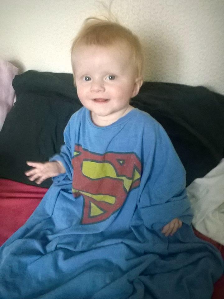 Marianna wearing a Superman t-shirt