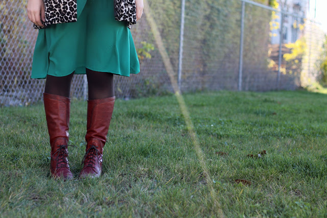 "Roaring 20s Outfit: Brown tights, Frye ""Melissa"" brown lace-up riding boots, green Anthropologie dress, Burgundy wool cloche hat, leopard brocade swing coat"