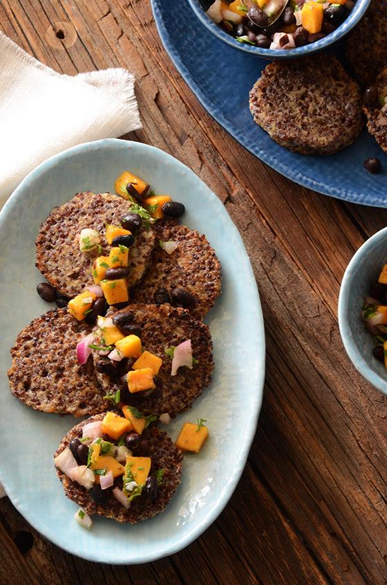 Garlicky Red Quinoa Patties with Mango Black Bean Salsa