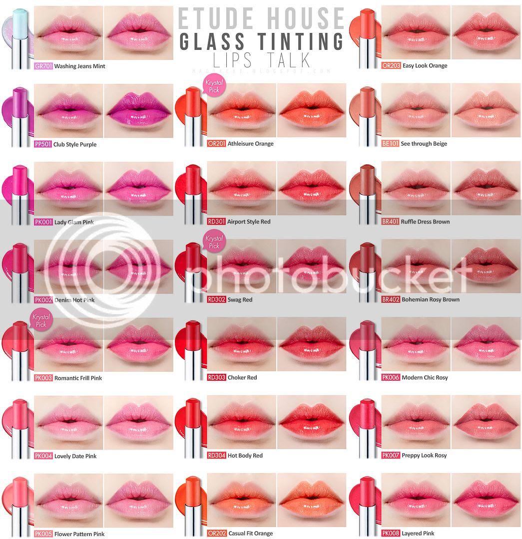 ETUDE HOUSE DEAR MY GLASS TINTING LIPS TALK swatches