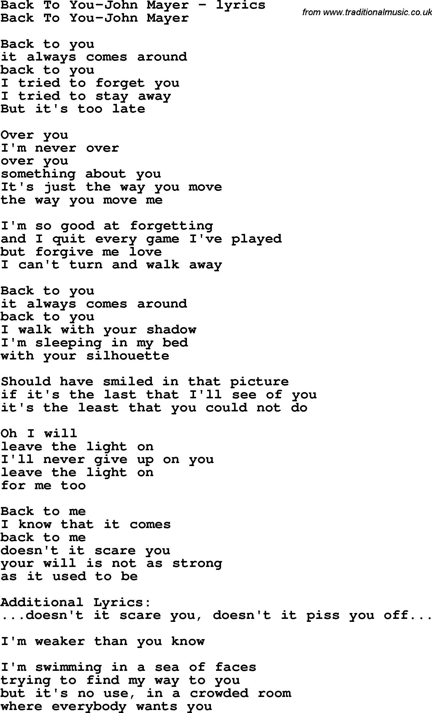 Love Song Lyrics For Back To You John Mayer