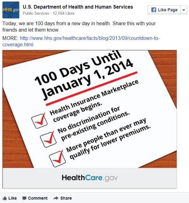 HHS Facebook Post: 100 Days Until January 1, 2014