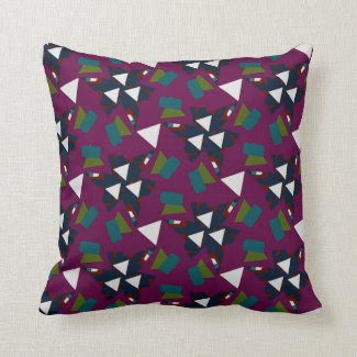 Pillow with Purple Geometric Design