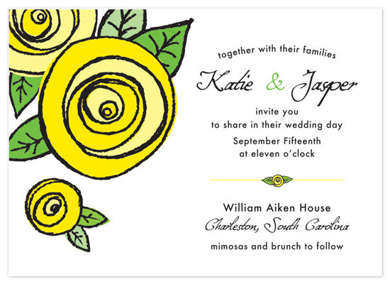 Wedding Invitations - Yellow Rosette of Texas