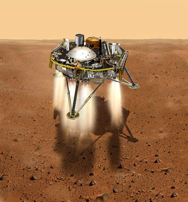 An artist's concept of NASA's InSight Mars lander about to touch down on the surface of the Red Planet.