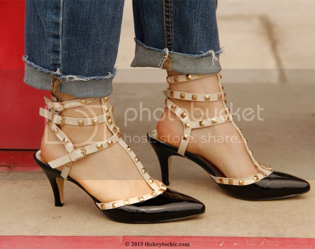 Valentino inspired Rockstud heels, Valentino Rockstud kitten heels look for less