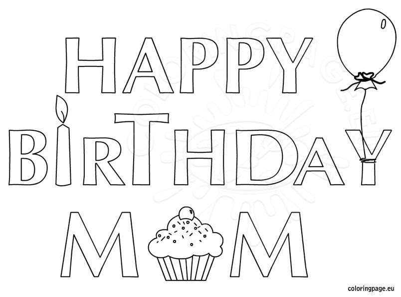 Happy Birthday Mom coloring page for kids - Coloring Page