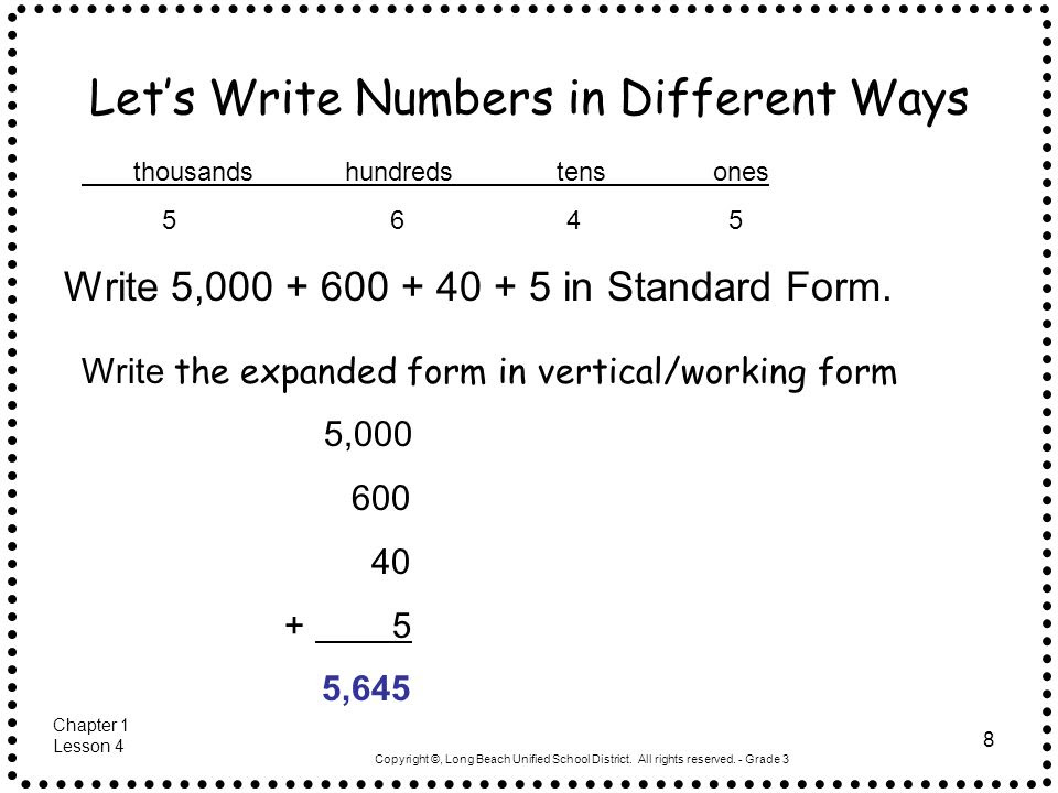 Three Different Ways To Write A Number