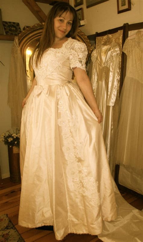 Vintage 1980's Champagne Wedding Gown by Priscilla of