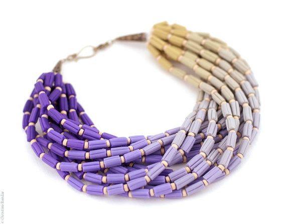Ombre Necklace  Purple Lilac Gray Ochre von PaciorkyArtStudio, $100,00