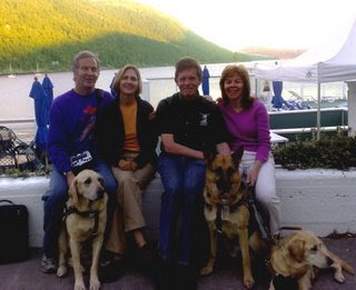 Mike, Jennifer, Jim and Ginger and 3 Guide Dogs enjoying Orcas Islands